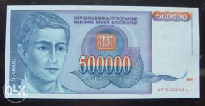 YU - 500.000 dinara - 1993 - UNC - serija AA