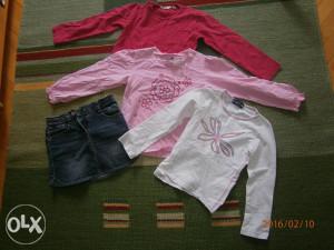 Tri majice,marke H&M,i s.Oliver suknjica.Broj 116.
