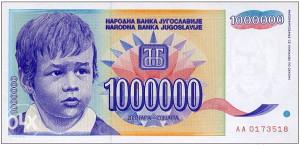 YU - 1.000.000 dinara - 1993 - UNC