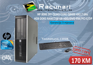 Računar HP QUAD CORE Q8400 2.7GHZ/4 GB DDR3/250 HDD