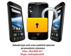 Dekodiranje svih mobilnih aparata po povoljnim cijenama
