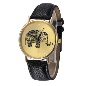 Ženski sat crni slon