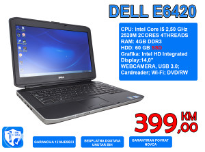 """LAPTOP DELL E6420 14,0"""" I5 2,50 GHz, 4GB, SSD"""