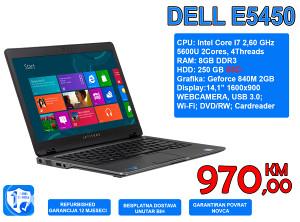 LAPTOP DELL E5450, I7 5600U 2,70GHz, 8GB DDR3, 250 SSD