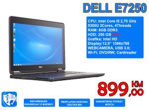 LAPTOP DELL E7250, I5 5300U 2,30GHz, 8GB DDR3, 250 SSD