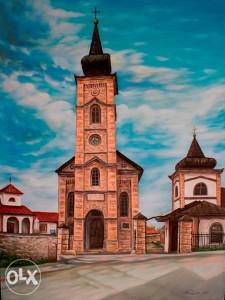 Umjetnička slika - Crkva u Vlasenici