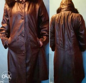 Zenski crni mantil prava koža, pravo krzno - M
