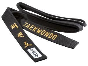 POJAS TAEKWONDO KWON EMBROIDERED CRNI 300cm 3061300
