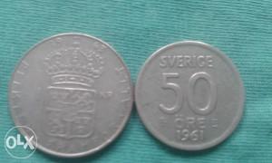 1 kruna, 50,i 25 ore svedska -srebro