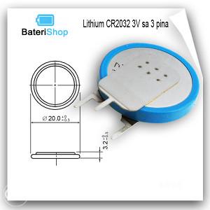Baterija Litijum CR2032 3V sa 3 pina vertikalna