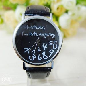 """Ženski sat """"I'm late"""" smeđi"""