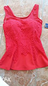 Crvena peplum bluza XS-S