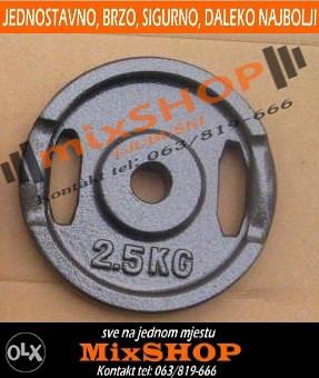 Metalni Utezi Sivi 12x 2.5kg 26 mm Uteg Tegovi Bućice