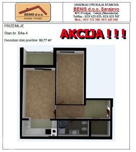 AKCIJA!!! Dvosoban stan 54,31 m2 Podgaj-Tekija