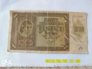 PAPIRNA NOVČANICA NDH-HR.1.000 KUNA.1941.GOD