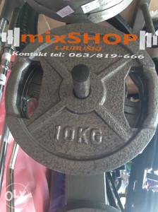Sivi Metalni Tegovi 10kg sa Rukohvatom Utezi Bucice