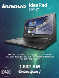 "Laptop LENOVO 300-17  17"" HD"