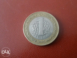 Kovanica Turska 1 lira 2009 g.