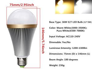 LED SIJALICA E27 36W Warm White 3000-3500K