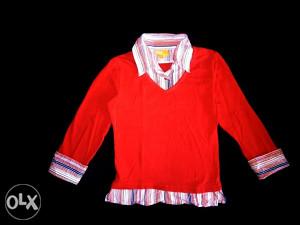 Vatreno crvena kosulja-majica 128